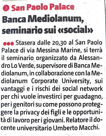 Seminario Centodieci è Condivisione - Hotel San Paolo Palace